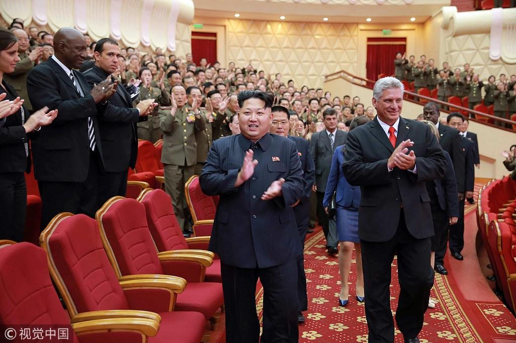 古巴新領導人訪朝:金正恩接機,上萬市民夾道歡迎