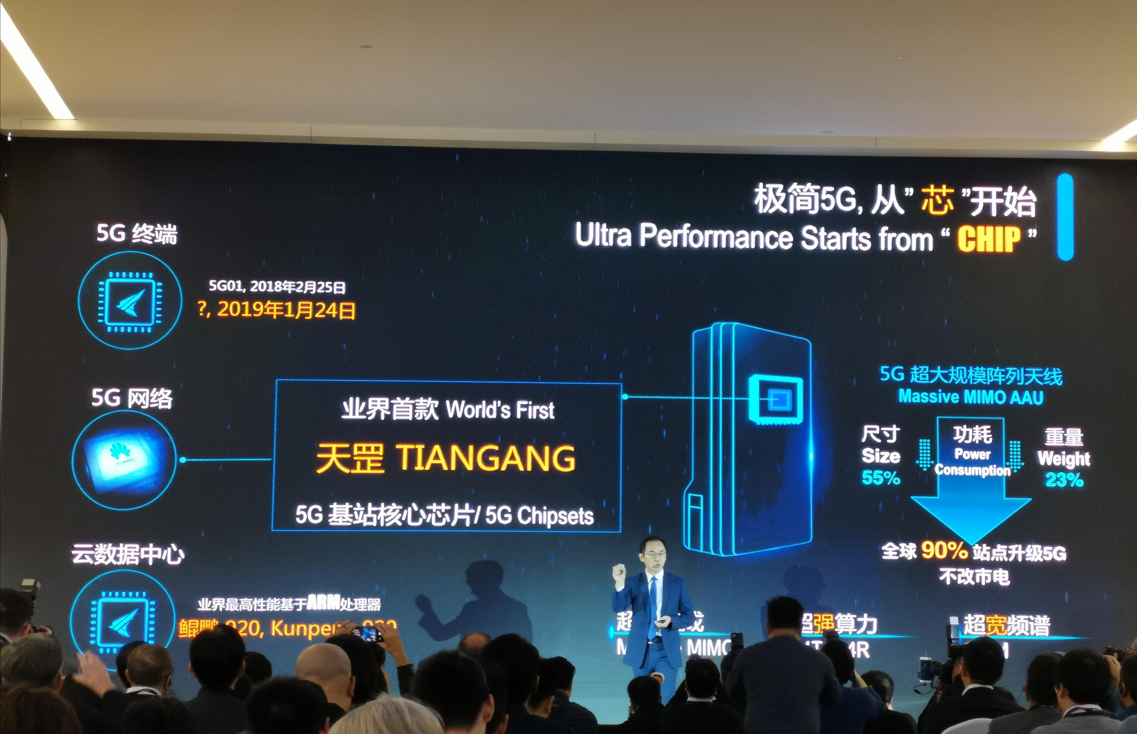 华为发布业界首款5G基站芯片天罡算力提升2.5倍