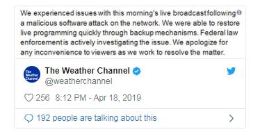 美国天气频道遭勒索软件攻击 停止直播1个多小时