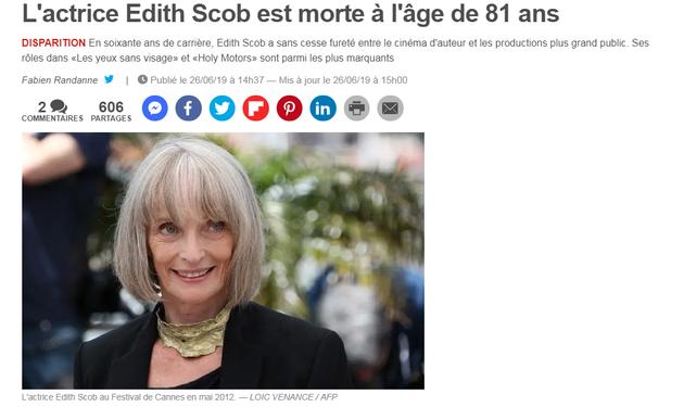 法国女演员爱迪丝·斯考博去世 享年81岁
