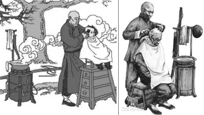 老人剃光头,中年人推平头