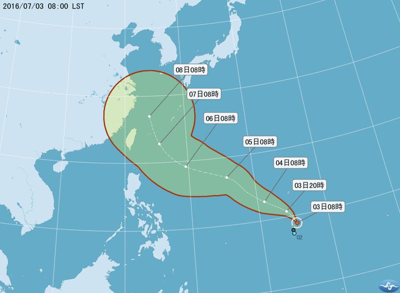 """中国天气网讯 今年第1号台风""""尼伯特""""于今天(3日)上午8点钟在美国关岛"""