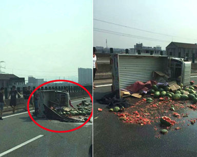 宁波东高速一辆货车爆胎 西瓜洒了一地