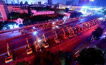 近百台挖掘机拆除南昌永和门立交桥