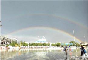 北京暴雨后现双彩虹