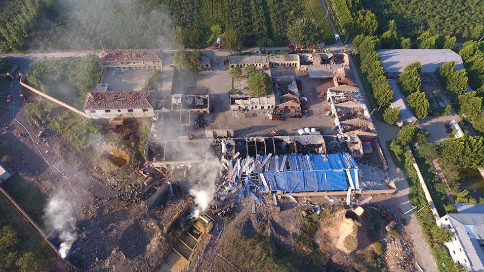 航拍河北黑化工厂爆炸现场
