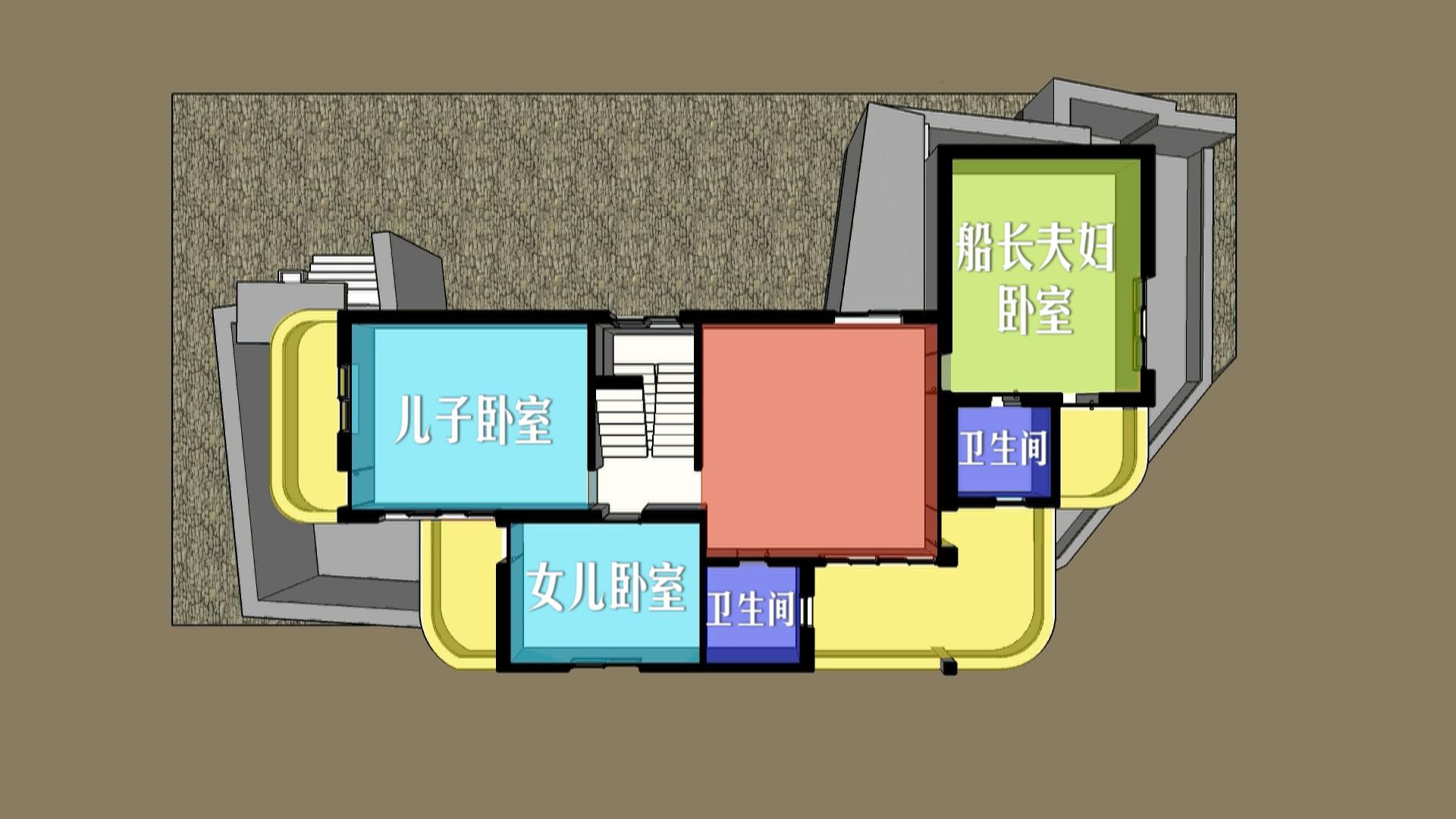 改造前二楼平面图 解决方案 由于董功平时工作大都在北京进行,而委托人家位置又相对偏僻,董工和肖从真商量决定异地操刀,在当地寻找施工方施工。为求完美,要求严苛的董功不仅在开工前将各种施工的规范和细节一一与施工队交流并确认,更要求施工队进行样墙涂刷,以此来确定设计可实现度并进行及时调整。