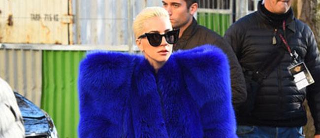 有点方!Lady Gaga蓝色皮草加身 酷似海绵宝宝