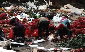 老人垃圾堆捡菜叶 怕给子女添负担