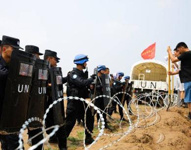公安部常备维和警队展开综合演练