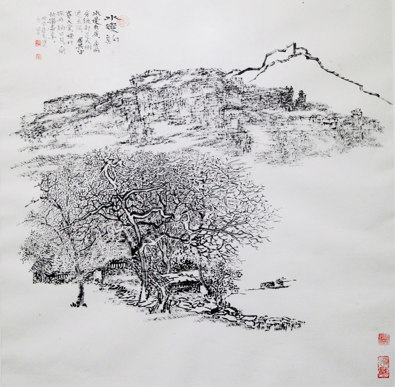 山水风景铅笔画