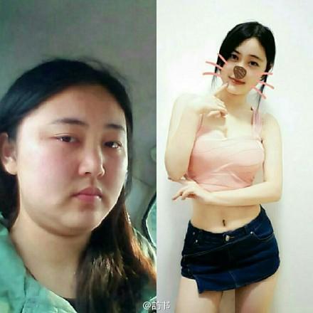 减肥 有多大 影响/@訪书:微博上看到的一位博主大学毕业时的照片和现在的照片