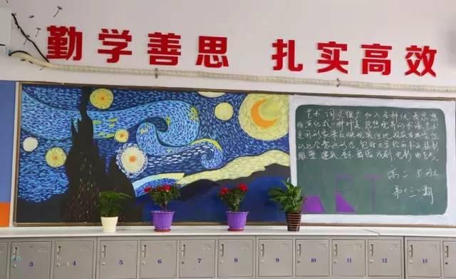 """有的黑板报超级艺术,比如下面这幅""""梵高风"""",水彩再现了梵高名作《星"""