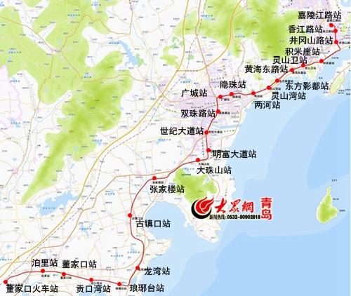 青岛西海岸未来将有五条地铁