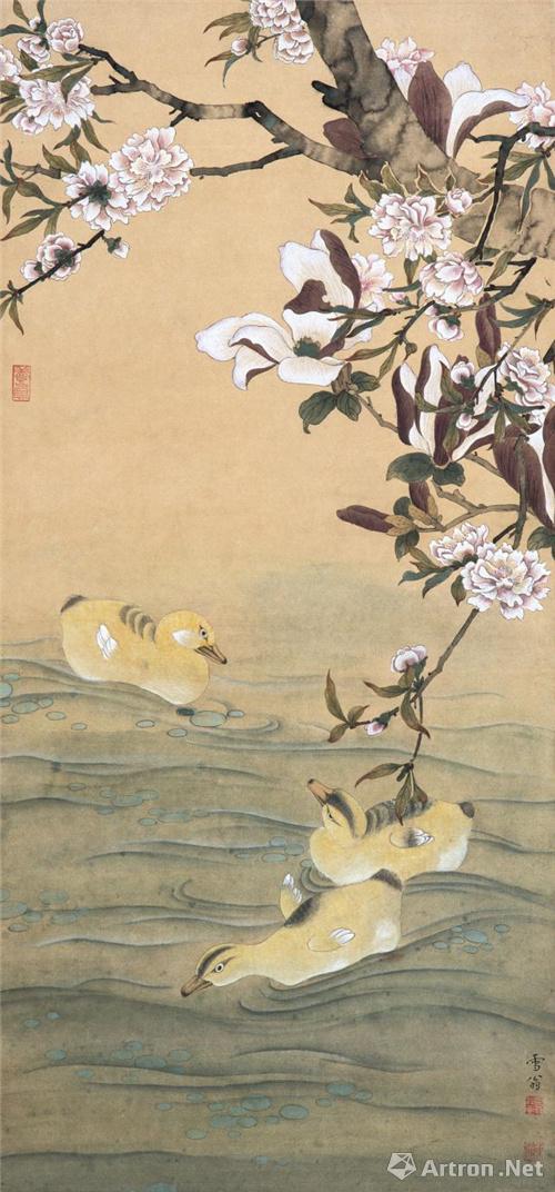 书画  松龄鹤寿 镜心 纸本 设色 148 cm × 295 cm 1959 年