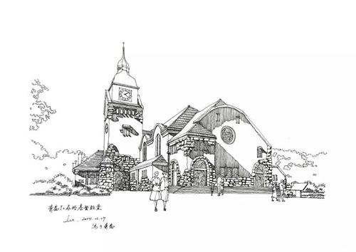 手绘建筑画钟楼
