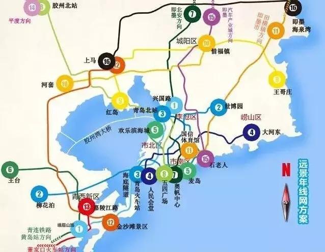 """青岛6条地铁开通时间确定!""""三湾""""间一小时可达"""