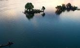 江西仙女湖景如画 霞映渔村牛戏斜阳