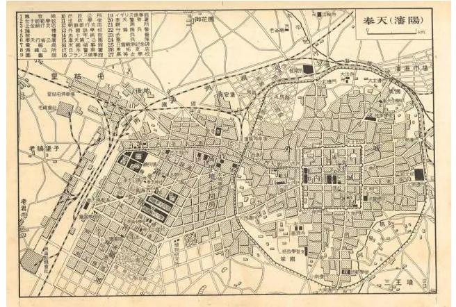 伪满洲国时期沈阳市地图,日本人规划的满铁附属地城区几乎和沈阳老城
