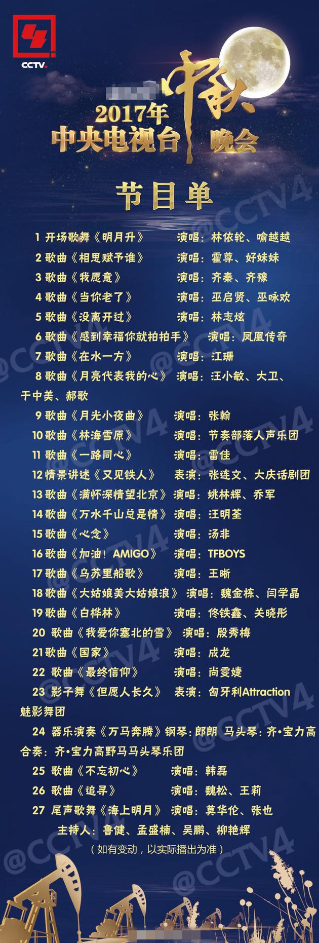 2017央视中秋晚会名单 tfboys嘉宾出场顺序一览