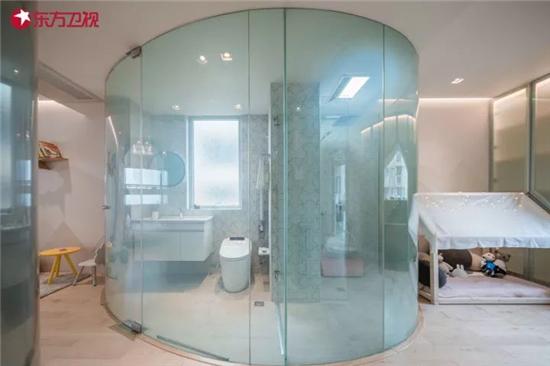 通电雾化玻璃的使用,让主卫生间充满了现代感和科技感.