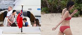 47岁邓文迪乘普京好友游艇带女儿海边度假 秀出好身材!