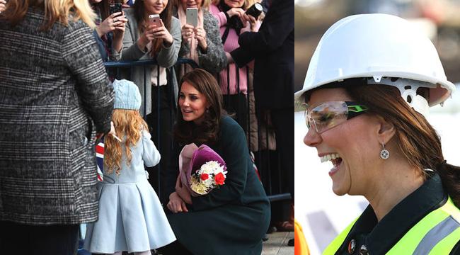 """凯特王妃挺孕肚蹲下与萌娃互动 变""""女工""""笑出双下巴"""