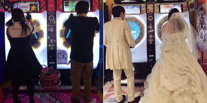 日本情侣在游戏厅拍婚纱照 新娘:会幸福到死