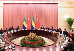 俞正声与加蓬参议长米勒布会谈