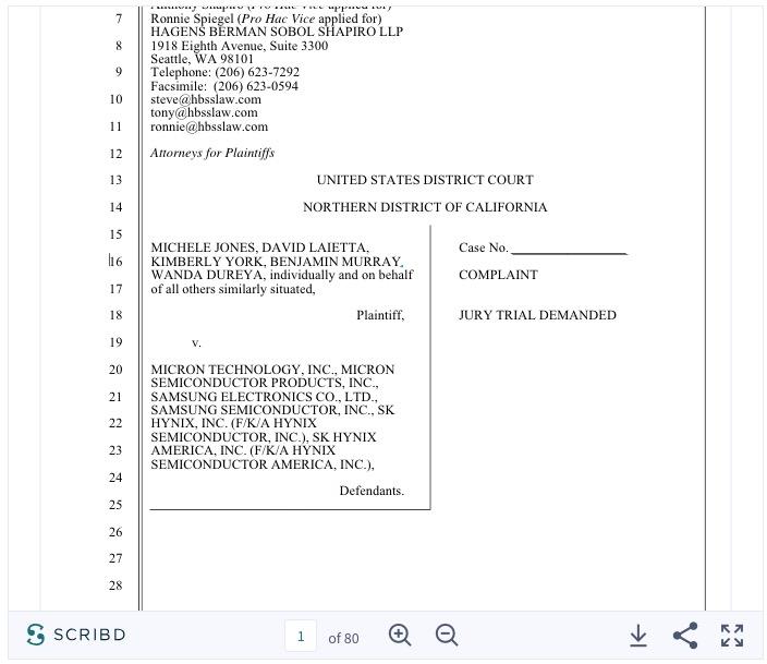 三星、海力士等涉嫌串谋操纵芯片价格 被提起诉讼