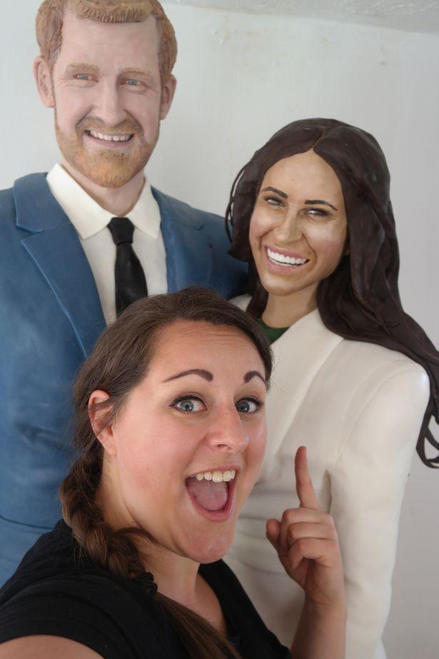 英女子做出哈里王子与梅根真人尺寸蛋糕 高度还原
