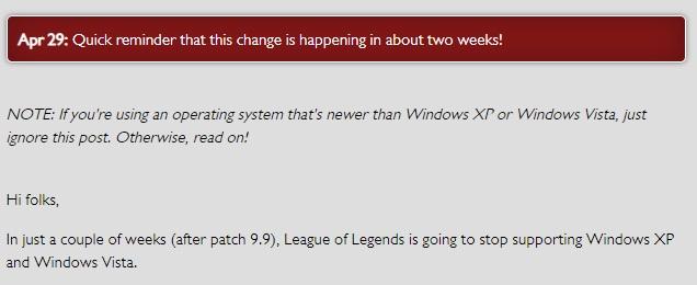 联想电脑xp系统,《英雄联盟》9.9版本将停止Win XP、Vista支持