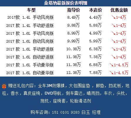 大众桑塔纳价格2017款1.4l低配多少钱