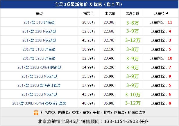 17款宝马3系运动型轿车价格表如下: 【宝马3系320i m版运动劲爆活动