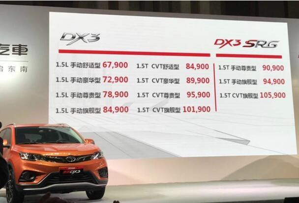 2018款DX3青春上市,