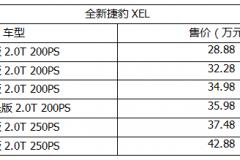 全新捷豹XEL上市 售28.88万—42.88万元