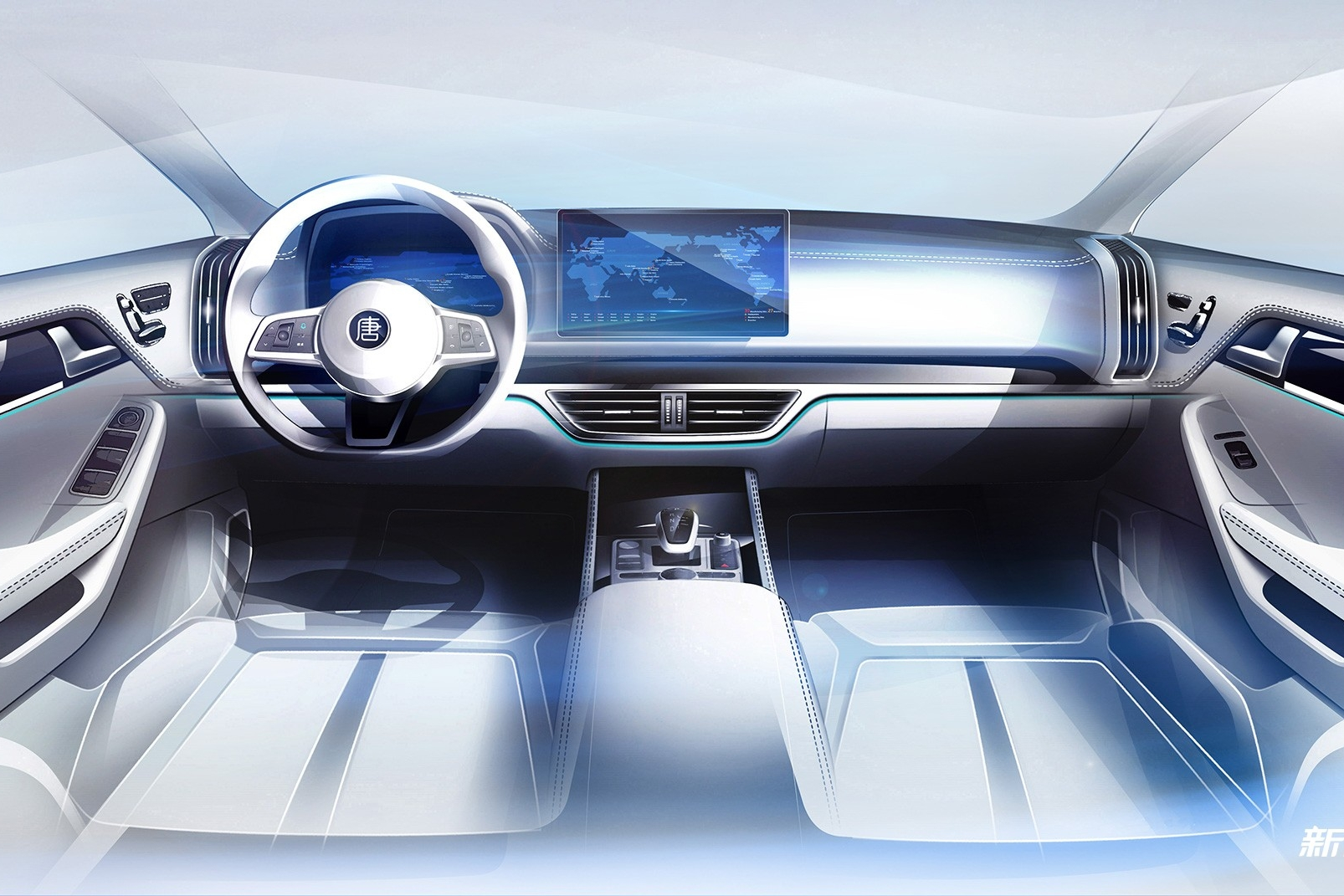 全新豪华风格/可90°旋转触控屏 比亚迪新一代唐内饰设计图