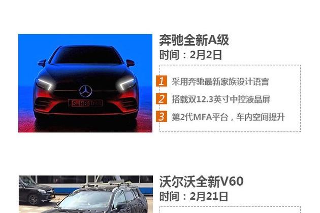 奔驰新A级领衔 二月8款将上市/发布新车