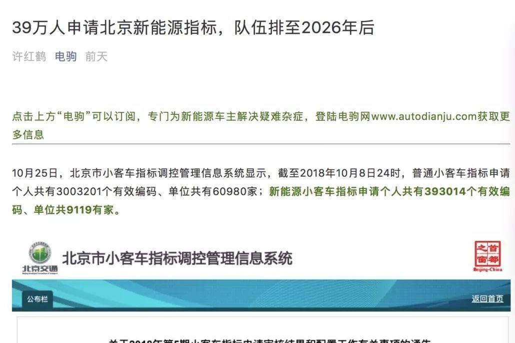 北京剩3万个新能源指标待上牌,2019年补贴退坡将引燃京城电动车市