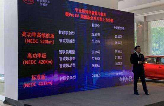 【e汽车】售24.89-29.89万元 秦Pro EV超能版上市
