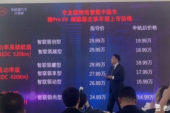 续航不输Model 3 秦Pro EV600超能版补贴后售18.99万起