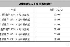新增M运动曜夜版 2019款宝马4系售35.98-61.68万