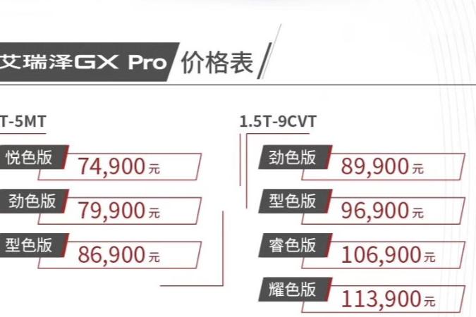 售5.99万元起 奇瑞艾瑞泽5 Pro/GX Pro上市