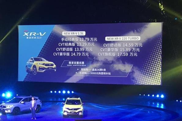 东风本田最走量SUV改款上市,增配最强1.5T,售价12.79-17.59万!