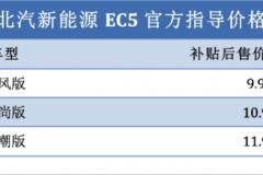 续航里程达403km 北汽新能源EC5补贴后售价9.99万元起