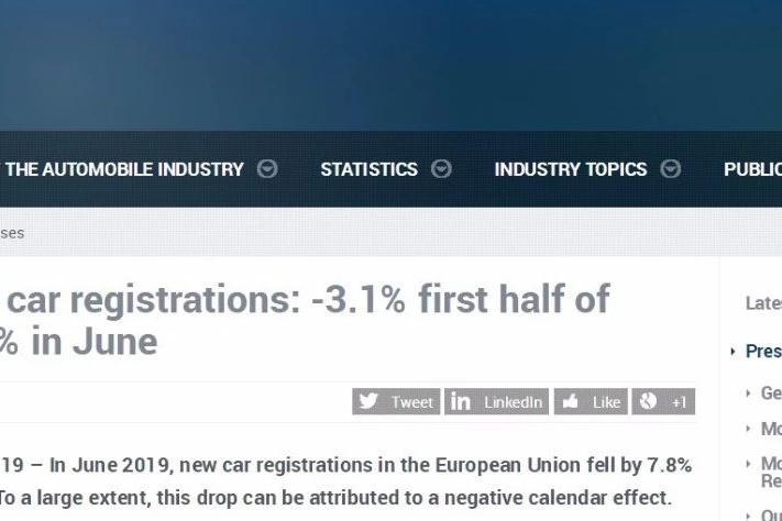 盘点|2019年上半年欧洲各国汽车销量情况