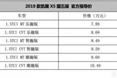 新增国六车型 2019款凯翼X5售7.89-10.49万元