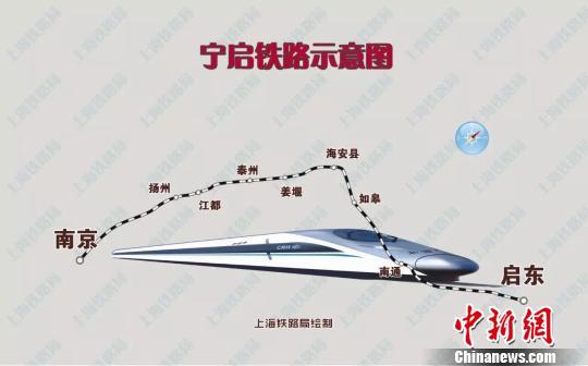 宁启铁路示意图。 上海铁路局绘图 摄