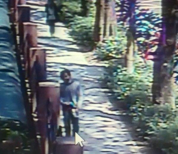 监控画面中拍到的行凶之前徘徊在路边的凶嫌