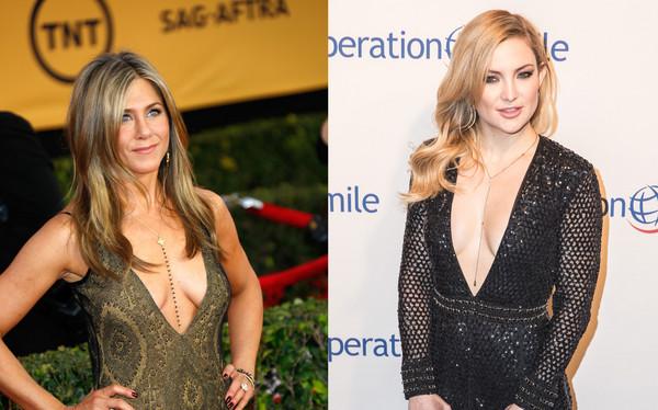 Jennifer Aniston & Kate Hudson出席重要场合也穿低胸装。(图片来源:台湾东森新闻云)